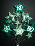 Star age 80th birthday cake topper decoration in shades of green - free postage